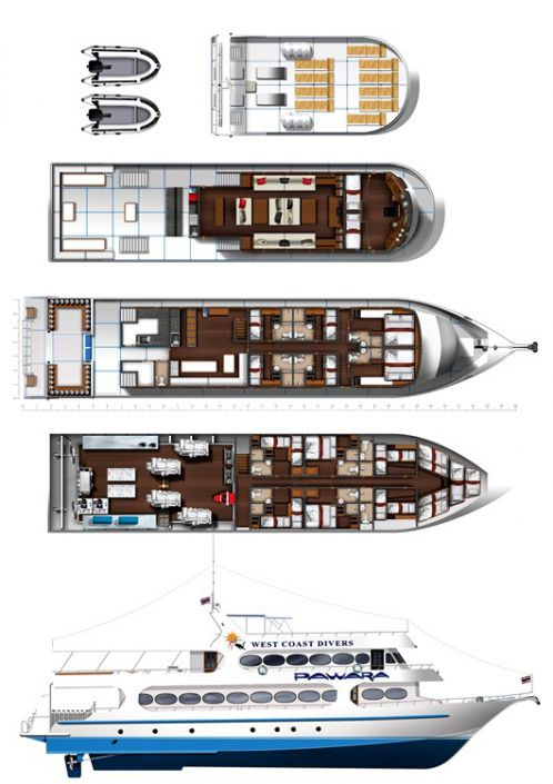 Tauchschiff MV Pawara Deck-Layout