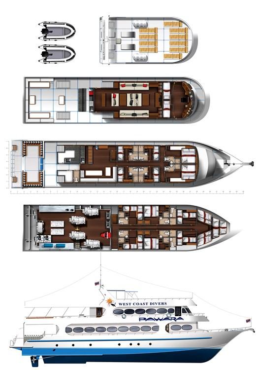 Tauchschiff MV Pawara Deck-Layout